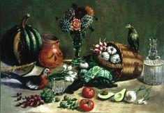 Titulo de la imágen Jose Agustin Arrieta - Still life with Pigeon, Parakeet and Vegetables