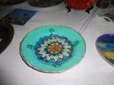 Prato de vidro pintado estilo Turquia
