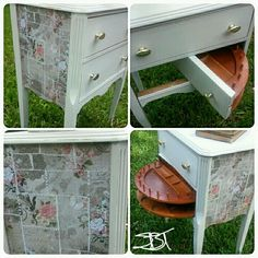 Painted cream side table with decoupage sides.