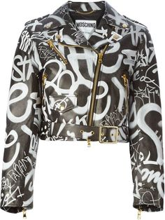 I am so loving this Moschino graffiti print biker jacket ❤