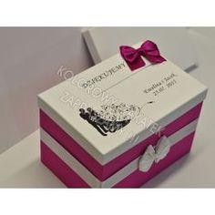 pudełko na koperty, różowe zdobione pudelko ślubne na koperty