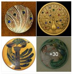 """Elaborate iridescent coloration and large """"train"""" of peacocks captured on buttons. Shared by Colorado State Button Society on FACEBOOK. #buttonlovers"""