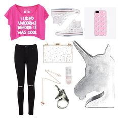 """""""Unicorn lover"""" by leyna-yost ❤ liked on Polyvore featuring Miss Selfridge, Converse, CB2, Skinnydip and Estella Bartlett"""