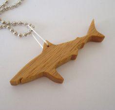 Shark Necklace Scroll Saw Wood Sea Life by OohLookItsARabbit, $16.00