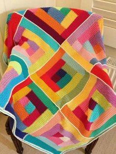 mitali's Crochet log cabin afghan – Knitting Blanket 2020 Crochet Afghans, Crochet Motifs, Crochet Quilt, Afghan Crochet Patterns, Crochet Squares, Crochet Home, Crochet Granny, Crochet Crafts, Crochet Projects