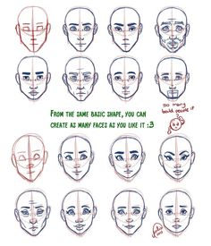 how to draw face shapes - Google Search