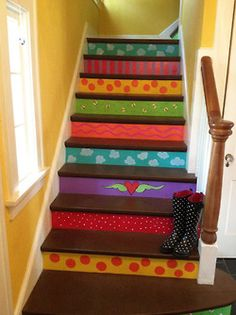 Whimsical Painted Staircase by The Dreaming Bear