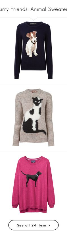 """""""Furry Friends: Animal Sweaters"""" by polyvore-editorial ❤ liked on Polyvore featuring animalsweaters, tops, sweaters, navy blue sweater, navy blue long sleeve top, jumpers sweaters, jumper top, blue sweater, nude and cat jumper"""