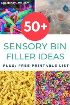 huge list of sensory bin fillers for your next sensory activities for toddlers, preschoolers, or special needs child.A huge list of sensory bin fillers for your next sensory activities for toddlers, preschoolers, or special needs child. Toddler Sensory Bins, Baby Sensory Play, Sensory Activities Toddlers, Sensory Boxes, Speech Therapy Activities, Toddler Play, Infant Activities, Toddler Preschool, Sensory Tubs