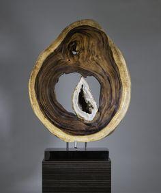 Organic Sculpture: Rhyolite Geode, Acacia Wood, Stainless Steel, Lights Sculpture Size: 38 x 28 x 10 in. by Dorit Schwartz