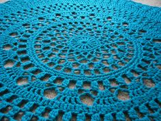 Items similar to Giant doily rug in turquoise. round mandala crochet rug, lacey, large area rug, oversized on Etsy Crochet Doily Rug, Knit Crochet, Crochet Patterns, Furniture Inspiration, Design Inspiration, Large Area Rugs, Do It Yourself Projects, Country Decor, Knits