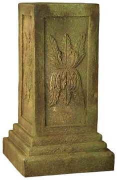Cameo Leaf Pedestal for Outdoors - Decorative Rectangular Pedestal. This rectangular pedestal is great For Urns and Planters. Made from durable fiber stone and designed for outdoor use perfect for a garden. Stone Planters, Urn Planters, Pedestal, Lawn Ornaments, Bronze, Garden Statues, Custom Items, Disney, Cool Things To Buy