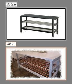 """Ikea Shoe rack """"Tjusig""""  Used some kopper spray and painted it White/gray =)"""