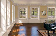 Music Room III by Edward Gordon - Windows, grand piano, persian carpet