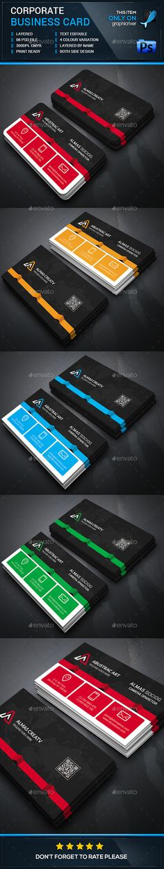 Modern Corporate Business Card Template #design Download: http://graphicriver.net/item/modern-corporate-business-card/12709504?ref=ksioks