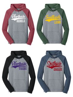 custom hooded raglan baseball softball hoodie any name any school any mascot school spirit shirt any