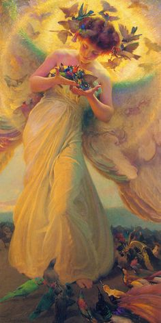Franz Dvorak - The Angel of The Birds Art Print. Explore our collection of Franz Dvorak fine art prints, giclees, posters and hand crafted canvas products I Believe In Angels, Angels Among Us, Angels In Heaven, Heavenly Angels, Guardian Angels, Angel Art, Mellow Yellow, Oeuvre D'art, Fantasy Art
