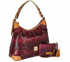 Dooney & Bourke Snake Embossed Leather Hobo w/Accessories