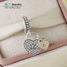 Подходит Pandora Браслет Позолоченный Любовь Замки Подвеска Шарм Бусы Стерлингового Серебра 925 CZ Проложить Сердце Любви Мотаться Для Женщин