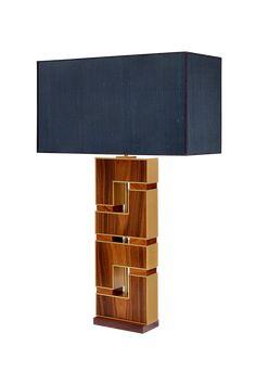 Materials Indian palisander, bronze, silk fabric Dimensions H: 60cm   W: 22cm   D: 8cm Lampshade: H: 32cm   W: 60cm   D: 23cm