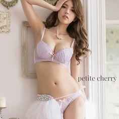 Iris Demi Mesh Bra Set (Lavender) - Petite Cherry  - 1