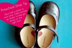 Tips & tricks for parents: Place half a sticker in each shoe to help your child put on shoes the right way