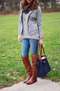 The sweater looks so cozy.   Jacket: Old Navy (old) (similar here, here, love this one)  (really want this one - take 25% off any order of $150+) Sweater: F21 (recent - I got it in Medium)  (buy here - long line two toned sweater) Jeans: Old Navy (old) Boots: Sam Edelman (2010) (similar style here, here, here, here) Bag: LongChamp Scarf: H (old) (similar here and here)  Necklace: BaubleBar