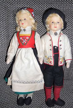 "Doll Pair of Norway Norwegian Ronnaug Pettersen Felt Dolls 12"" All Original | eBay"