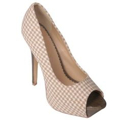 Liliana by Journee Co Womens Houndstooth Peep Toe Pumps $22