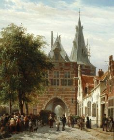 Cornelis Springer (Amsterdam 1817-1891 Hilversum) A view of the Cellebroederspoort, Kampen - Dutch Art Gallery Simonis and Buunk Ede, Netherlands.