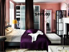 Master Bedroom/Chicago Apartment  Color Scheme: Purple, Black, Brown, White    Items Needed  •Black Damask Velvet Burnout Curtains  •Brown Curtains    Actions  •Take Down High Heel Shoes  •Paint Trim Purple Mix Color  -      Find Wall Art
