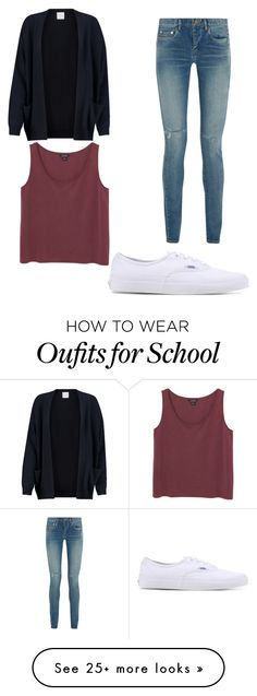 """casual school outfit"" by melissamartinez448 on Polyvore featuring Yves Saint Laurent, Monki, Madeleine Thompson and Vans"