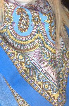 Pavlovo Posad Russian Shawl Willow blue Made от RussianMatroshka