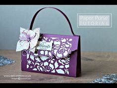 Paper Purse tutorial -Detailed Floral Thilits dies Stampin Up. Waterfall Cards, Paper Purse, Paper Bags, Purse Tutorial, Tutorial Sewing, Envelope Punch Board, Card Tutorials, Sewing Tutorials, Stamping Up