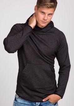 Czarna bluza męska z kapturem Denley 1685 | sklep internetowy z odzieżą i obuwiem www.denley.pl