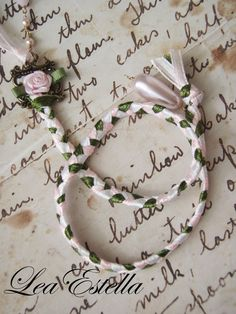 Pink White and Green Ribbon Braided Rose Bookmark