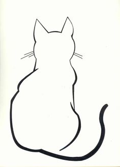 Ideas For Tattoo Cat Silhouette Illustrations Cat Outline Tattoo, Tattoo Cat, Cat Tattoos, Silhouette Chat, Silhouette Drawings, Silhouette Images, Simple Cat Drawing, Drawing Ideas, Cat Quilt