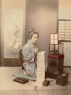 Japan Geisha Writing Letter Vintage Photo Kusakabe Kimbei Handcolored 1890 XL183 | eBay