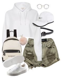 """Untitled #709"" by minhie-inspiration ❤ liked on Polyvore featuring B-Low the Belt, River Island, Moscot, Balenciaga, Puma, Furla and NIKE"