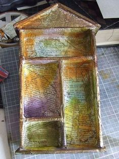 double stick tape holds foam core until it's covered with decoupaged paper Shadow Box Kunst, Shadow Box Art, Altered Boxes, Altered Art, Mixed Media Collage, Collage Art, Vitrine Miniature, Saints, First Art