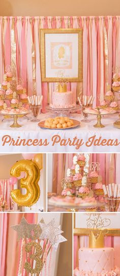 "Princess / Birthday ""Lily Kate's Pink and Gold Princess Party"" Golden Birthday, Gold Birthday Party, 3rd Birthday Parties, Princess Birthday, Birthday Bash, Happy Birthday, Princess Theme, Royal Princess, Birthday Ideas"