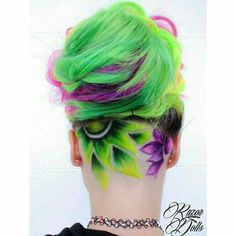 Crazy great undercut and neon color design by Grunge inspired Updo by Salon Creative Hairstyles, Cool Hairstyles, Wedding Hairstyles, Undercut Hair Designs, Pelo Multicolor, Natural Hair Styles, Short Hair Styles, Shaved Hair Designs, Hair Tattoos