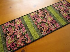 Quilted Table Runner Paisley Stripe Pink and Black Handmade Home Decor patchworkmountain.com