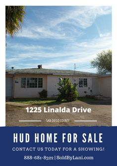 This San Diego County HUD home awaits its next buyer. This home is located in El Cajon and features 3 bedrooms 2 bathrooms. The home has a fireplace and is spacious throughout. There is plenty of parking also. There is a nice sized yard, covered patio, and a pool. Put your finishing touches on this home! First time homebuyers welcome to make a bid. Hurry this home will not last!