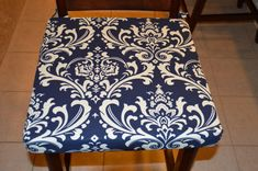 Navy blue and cream fabric seat cushion by BrittaLeighDesignsAdd style and elegance to your casual or formal dining chairs with a new seat cushion cover. This beautiful, bold and durable fabric as a fitted seat cushion cover will instantly update your home . The sample shown fits an 18 x 18 x 2 inch cushion.