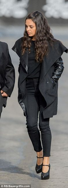 Chic sillhouette: The Friends with Benefits star teamed skinny jeans and a t-shirt for a simple but stylish look
