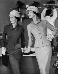 I need to go back in time so I can wear all those vintage suits.  They dressed like this for lunch and shopping -- fAbULouS!