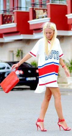 Wearing HIS favorite jersey with your heels. Clever. lol like when would i ever even do this
