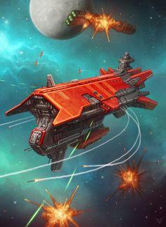 Vendetta Cruiser by Dmitriy Leonovich Spaceship Art, Spaceship Design, Space Fantasy, Sci Fi Fantasy, Stargate, Concept Ships, Concept Art, Starship Concept, Sci Fi Spaceships