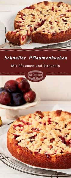 Quick plum cake: a quick fruit cake with plums and sprinkles Loading. Quick plum cake: a quick fruit cake with plums and sprinkles Easy Bread Recipes, Pie Recipes, Mexican Food Recipes, Quick Recipes, Food Cakes, Quick Fruit Cake, Plum Pie, Austrian Recipes, Fall Desserts